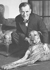 Edgar A. Guest with his dog, Bismarck, in 1938