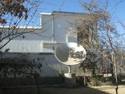 Satellite dish serving a Kabul NGO, photo by AKTC