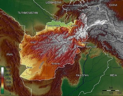 Topography of Afghanistan (Commons Wikimedia)