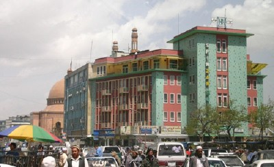 Another view of Ministry of Information and Culture behind Spinzar Hotel (Tim Doling)